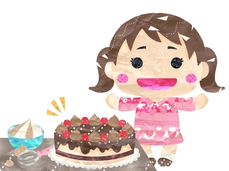 Handmade chocolate cake and girl