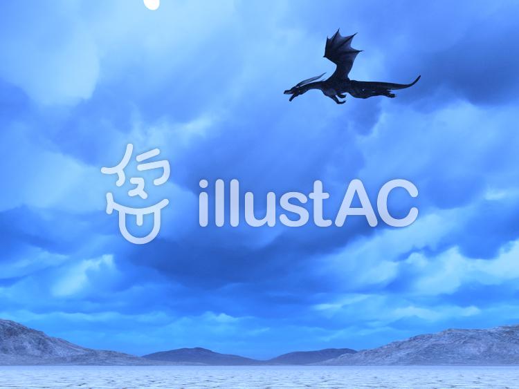 荒野を飛翔するドラゴンのイラスト