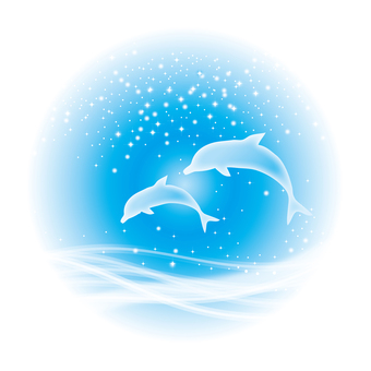 Dolphin parent and child jump