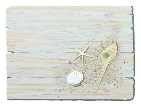 Summer memories 2 Seashells · sand and old tree boards