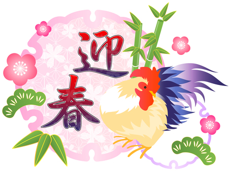 2017 Rooster year greeting card illustration