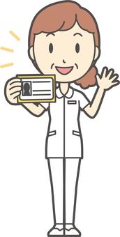 Middle-aged woman nurse white coat-267-whole body