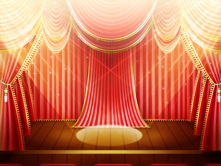 Stage background frame with illumination of red curtain
