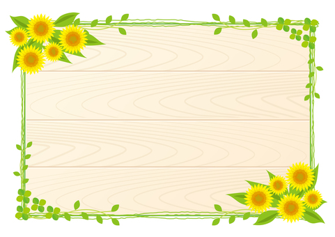 Sunflower and green frame wood grain