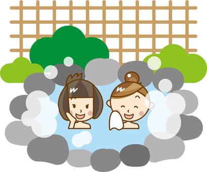 Women entering hot springs _ A 186
