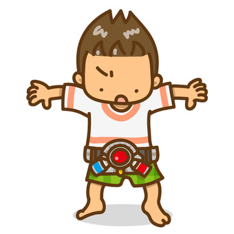 A boy with a toy makeover belt