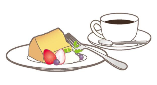 Cake set _ coffee _ chiffon cake