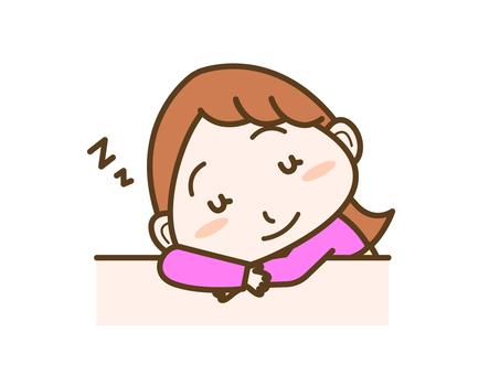 Female facial expression dozing