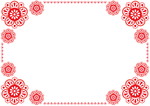 Frame - flower lace - red
