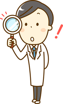 Male doctor with magnifying glass