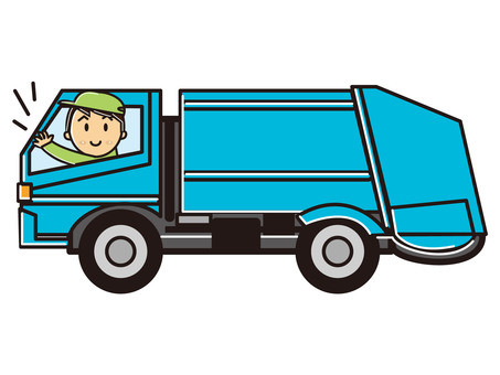 Workers and garbage trucks