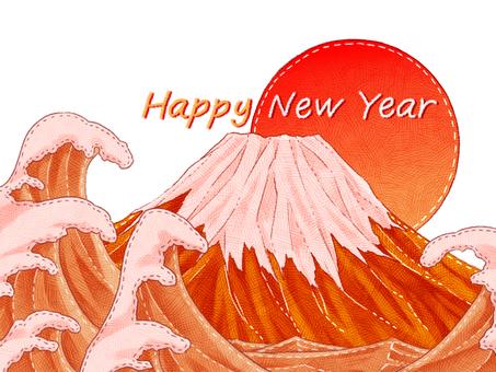Red Fuji New Year's card felt illustration