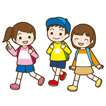 Children walking excursion