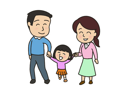 Holding hands with family and parents