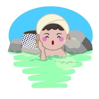 A woman immersed in a hot spring