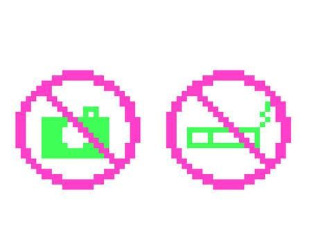 Dot picture prohibited Shooting prohibited Smoking prohibited