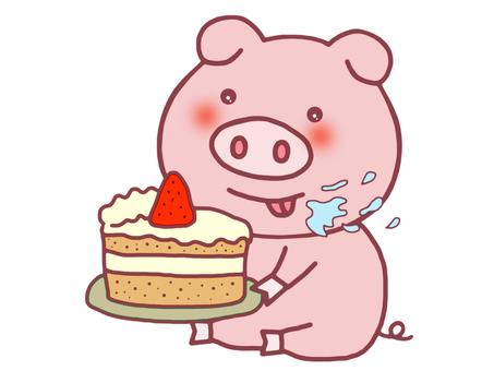 케이크가 좋아하는 돼지