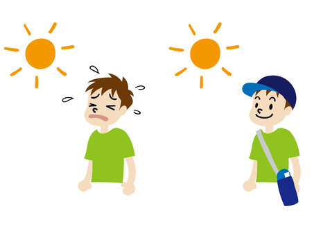 Heat stroke attention illustration 2-piece set