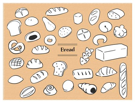Hand-painted bread black line white background
