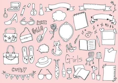 Girl style illustration set