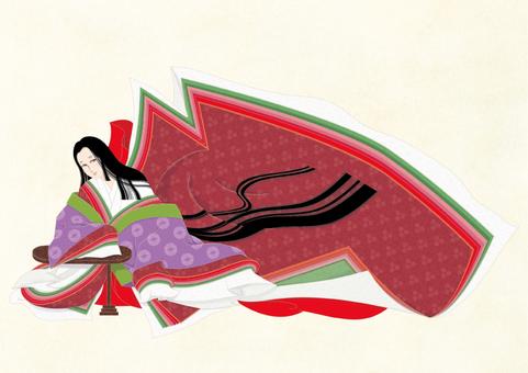 Twelve single ladies' dress ~ Hikari comb ki and paper _ thin yellow