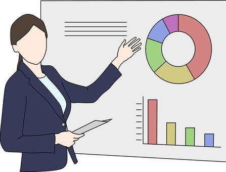 Female, explaining, graph
