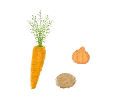 Carrots, onions, potatoes