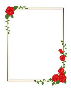 Red rose diagonal frame · Decorative frame length 01