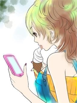 Girl and soft cream
