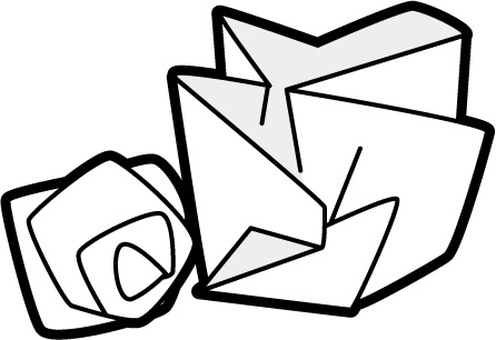 Garbage separation - paper waste black and white