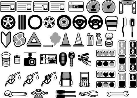 Car life black and white icon set