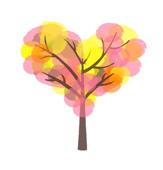 하트의 실루엣 나무 핑크