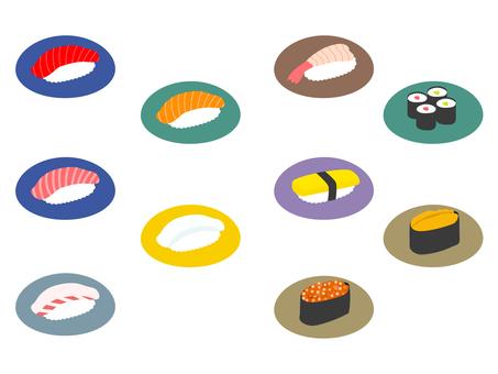 お寿司のフラットイラスト