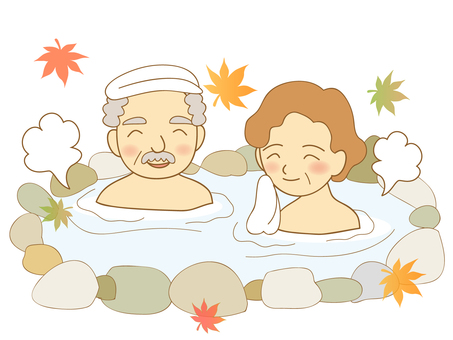 Relaxing at the hot spring ~ Elderly couple ~
