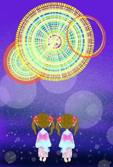 불꽃 놀이 불꽃 놀이 유카타 축제 쌍둥이 코데