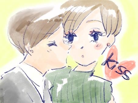 親吻在面頰的夫婦