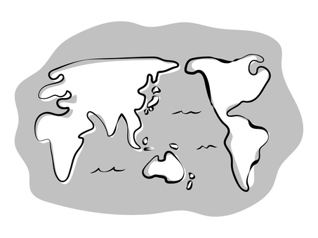 Hand-painted world map monochrome