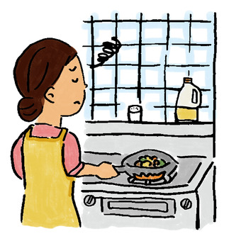 Housewife dissatisfied with the kitchen
