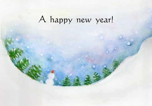 New Year cards snow scene