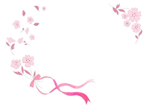 분홍색 꽃과 리본 메시지 카드