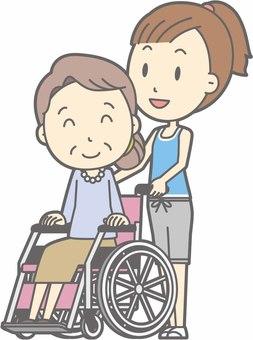 Sports female b - wheel chair push - whole body