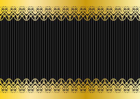 金色の上下のレースフレーム黒色背景