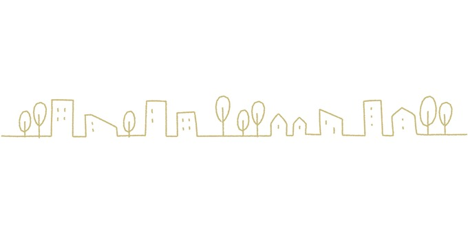 Cityscape _ hand-painted _ ocher color