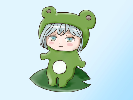Girl wearing a frog costume
