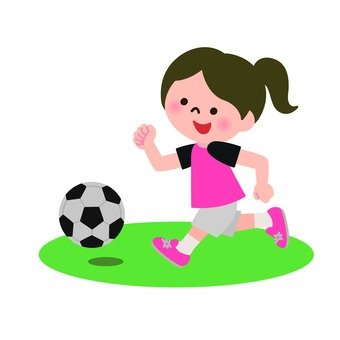 A girl chasing a soccer ball