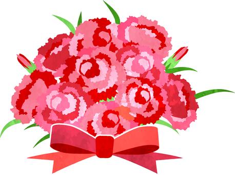 수채화 풍의 핑크 카네이션 꽃다발 투과 알리