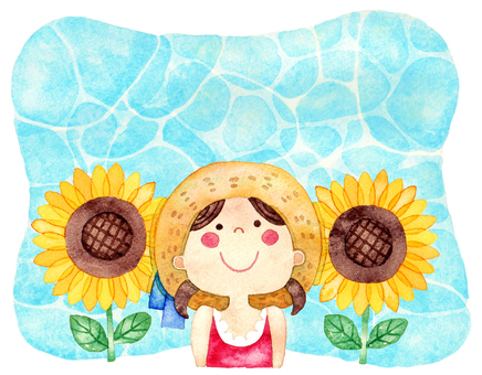 Sunflower and Girl Background version