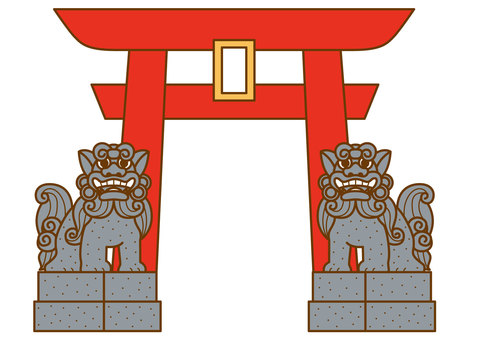 Torii and guardian dog 4c