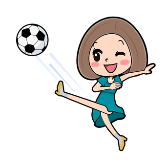 Green dress young woman football