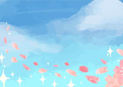 하늘과 벚꽃 눈보라